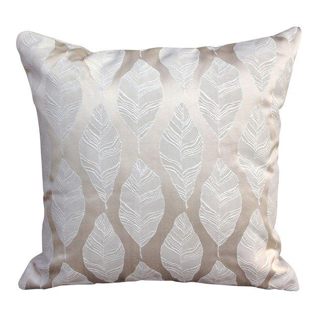 Cream and Gold Embroidered Leaf Print Throw Pillow with invisible zipper closure.