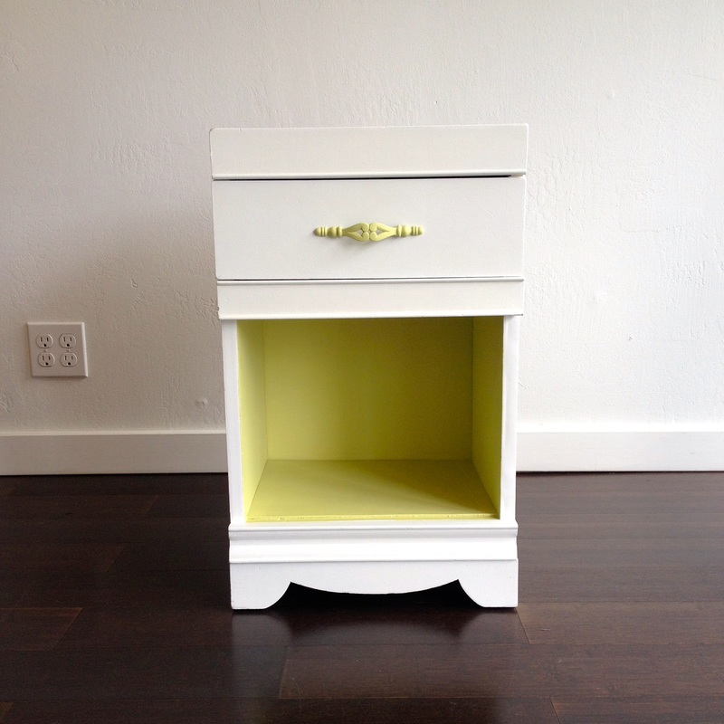 painted white and green nightstand
