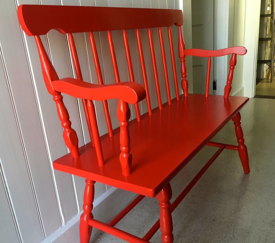 Red Wood Painted Wood Bench - Furniture