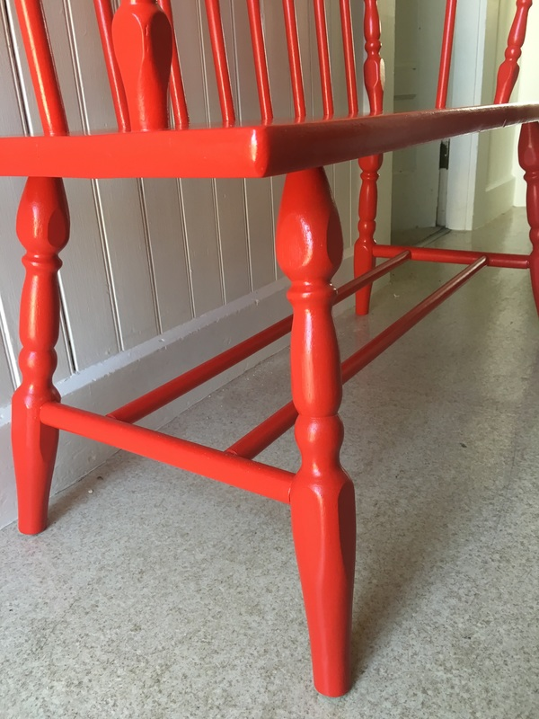 Red Painted Wood Bench Makeover