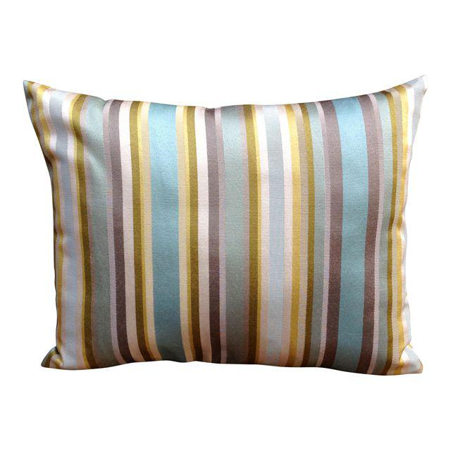 Blues, Greens and Greys make this striped throw pillow perfect for any room!