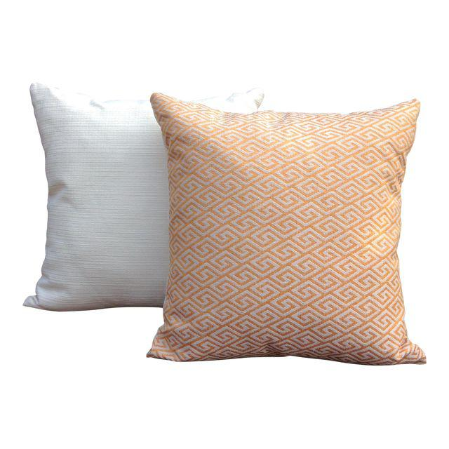 Golden Greek Key print throw pillow set with solid cream textured backing and invisible zipper closure.