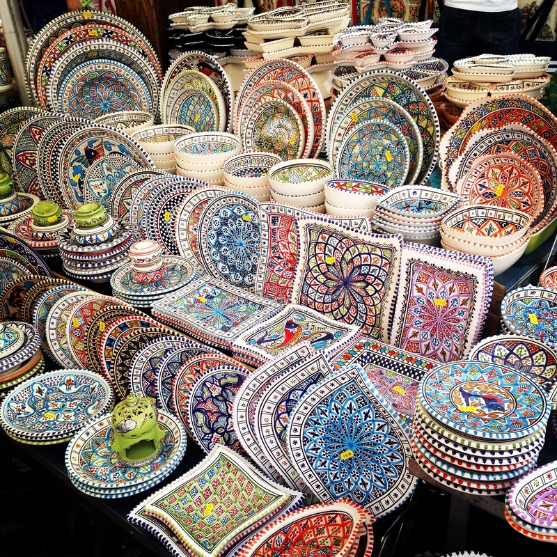 Colorful pottery in Rome, Italy