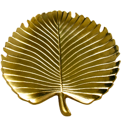 Gorgeous gold tone metal tropical palm leaf decorative serving tray platter.  A great addition to a coffee table topped with candles, a nightstand to display jewelry or kitchen island.