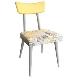 yellow and grey paisley print upholstered chair