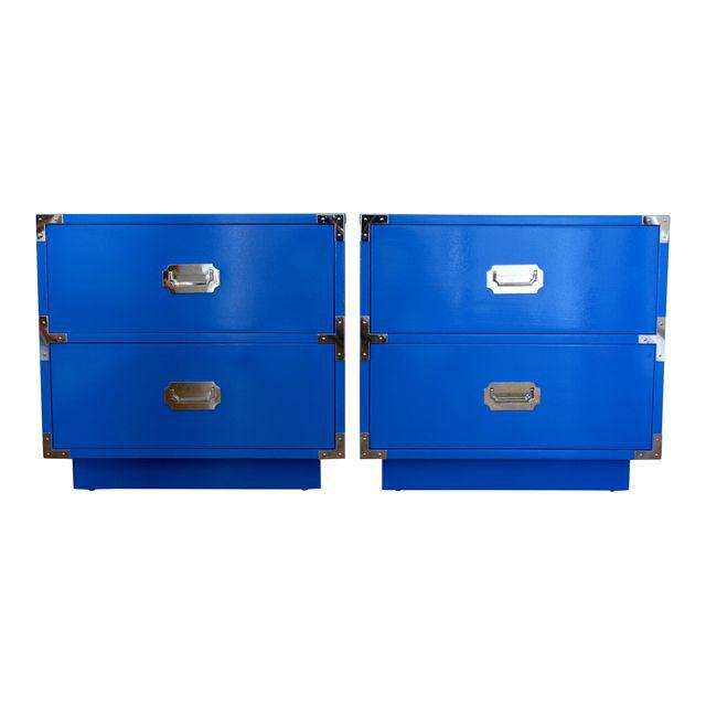 A pop of color for your bedroom, as side tables in your living space or pushed together as a media stand. These Dixie Campaigner chests have been freshly painted in a high gloss finish, Fine Paints of Europe in Benjamin Moore Big Country Blue, with original chrome plated campaign hardware. One drawer pull the chrome has flaked.