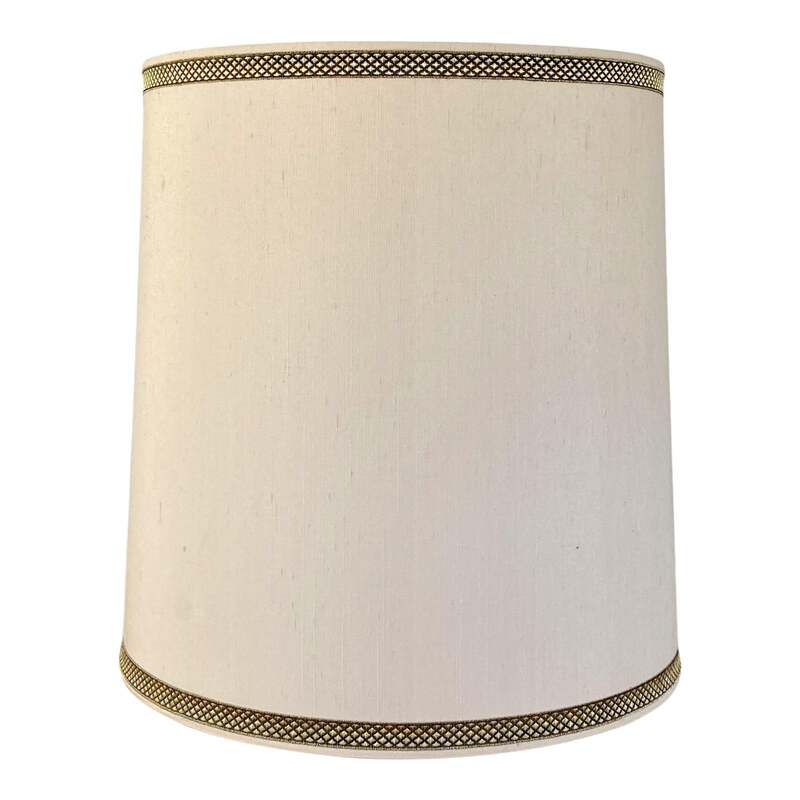 Large 1970s vintage Stiffel Lampshade. Ivory/beige colored textured silk with gold and black ribbon trim along top and bottom. Measurements: 14