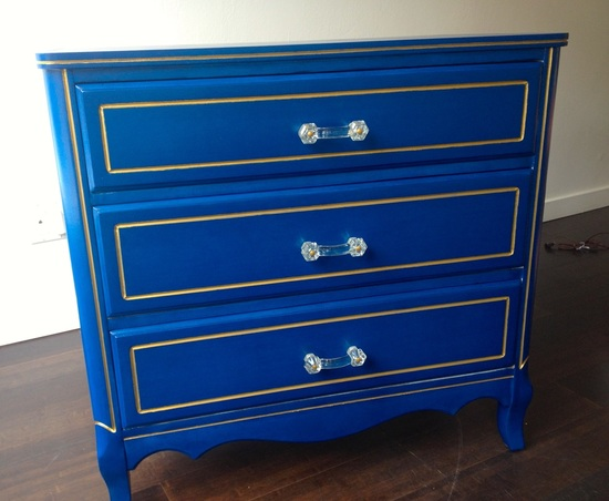 painted blue and gold 3 drawer dresser