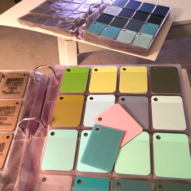 Colorful laminate samples transformed into lighting fixture