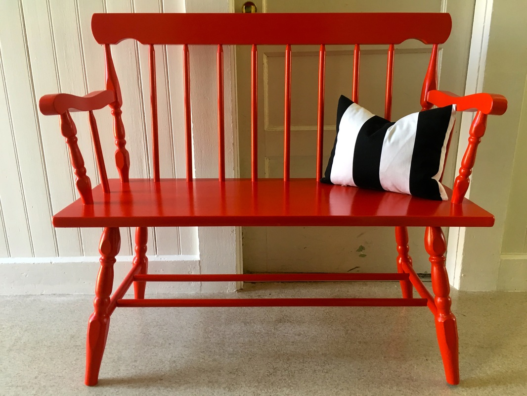 Glossy red wood benc, a painted furniture makeover