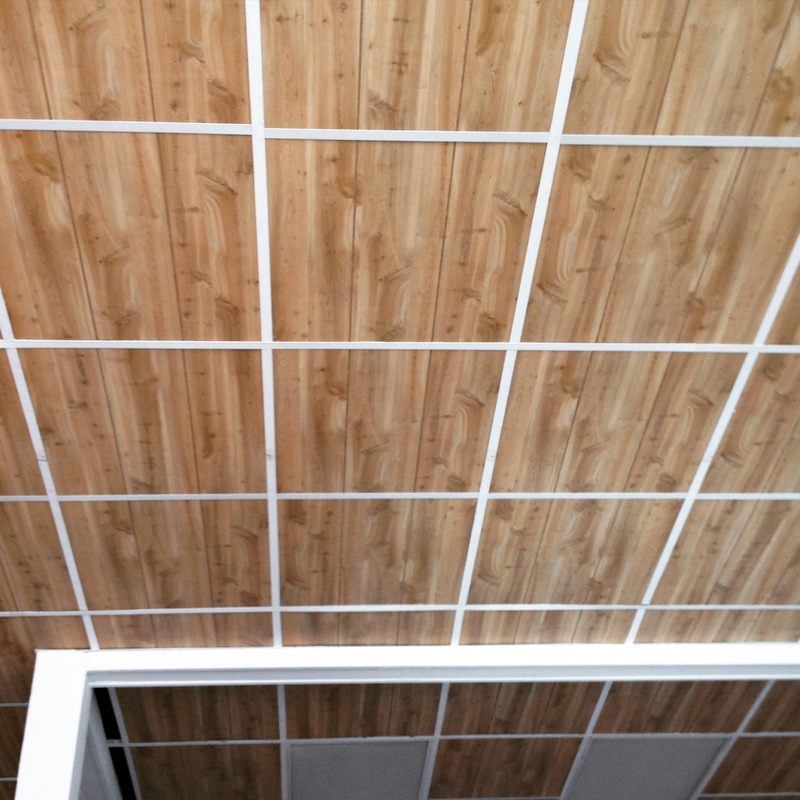 wood paneled ceiling tiles