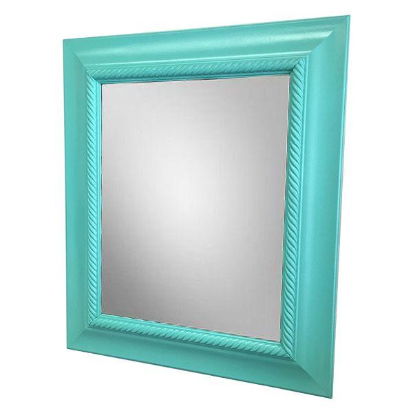 Painted aqua picture frame mirror