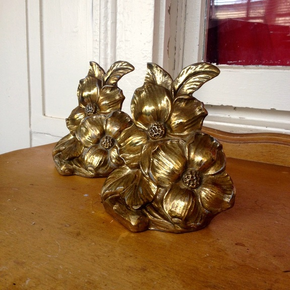 Vintage Brass Flower bookends