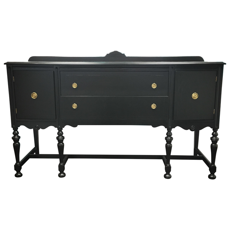 Black and Gold Painted Vintage Buffet