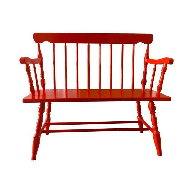 Painted fire engine red wood spindle bench