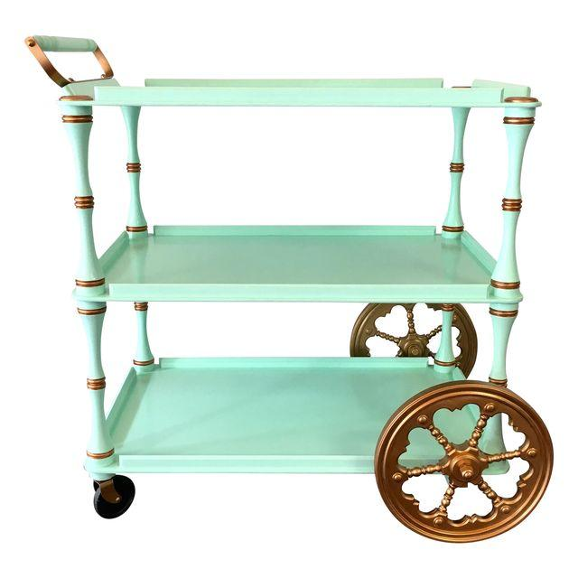 Vintage Painted Mint and Copper Bar Cart