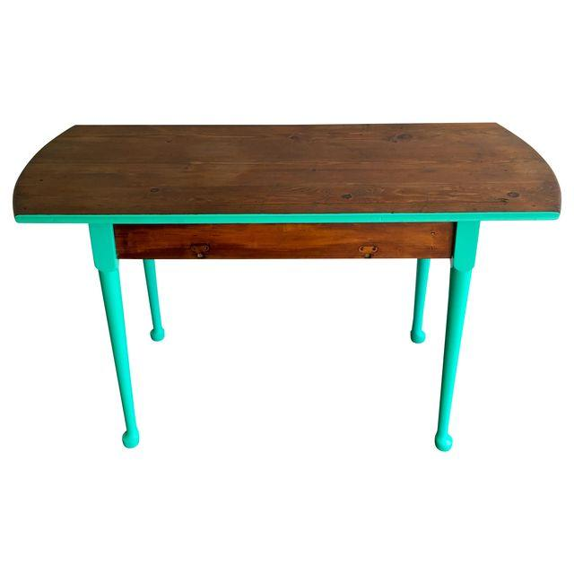 Painted two (2) tone wood and teal console table