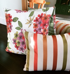 handmade floral and stripe pillow