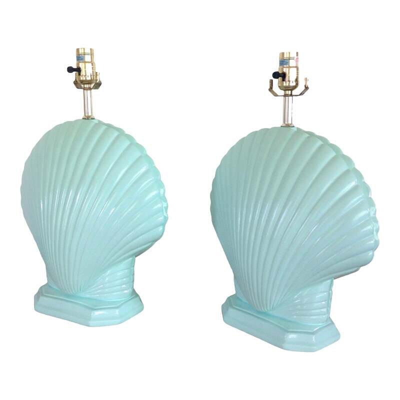 Beautiful clam shell plaster table lamps from the 1980's. Perfect for coastal decor, Hollywood Regency pop of color or Palm Springs style home. They have been refinished in Benjamin Moore Ocean Spray (2047-60) in a glossy finish and new felt base pads.
