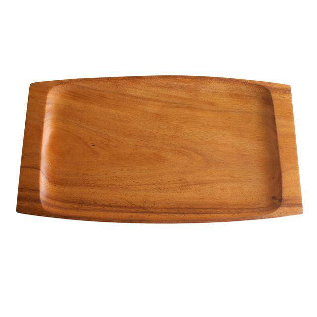 A beautiful solid acacia wood serving tray with multiple uses. Corral items on your desk, bring someone special breakfast in bed, organize your coffee table or fill with all your home bar goodies.