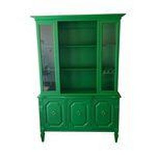 Painted Kelly green vintage china cabinet