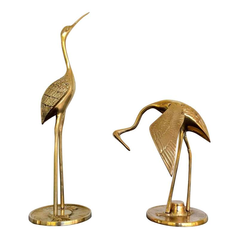 Polished vintage brass cranes or heron birds. A great vintage set for your boho chic, Hollywood Regency, or mid-century decor. They have been polished to a lovely bright brass finish.
